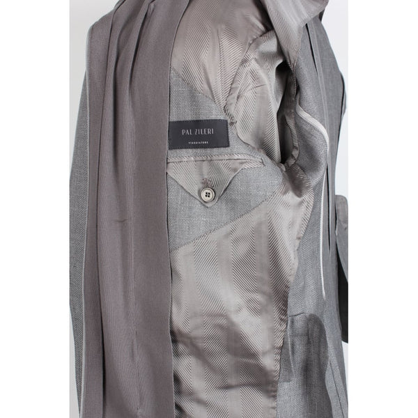 Viagiatore Grey Herringbone Linen-Wool Blend Scooter Jacket