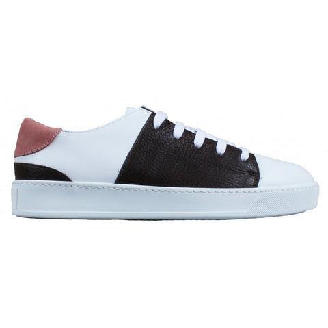 White Sneaker With Grain Leather And Suede Trim