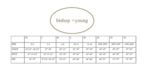 bishop and young size guide