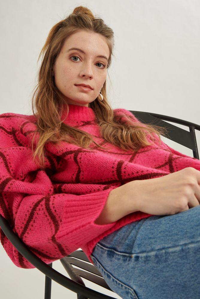 24 Colours Patterned Sweater in Hot Pink-The Trendy Walrus