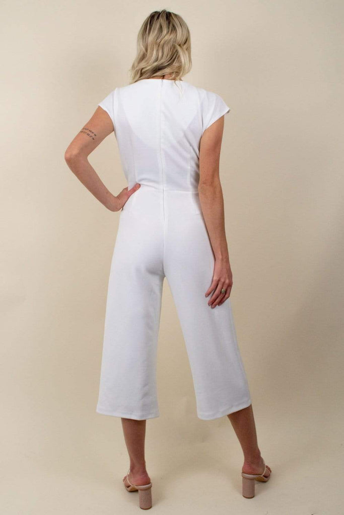 Bishop + Young Front Tie Jumpsuit in White-The Trendy Walrus