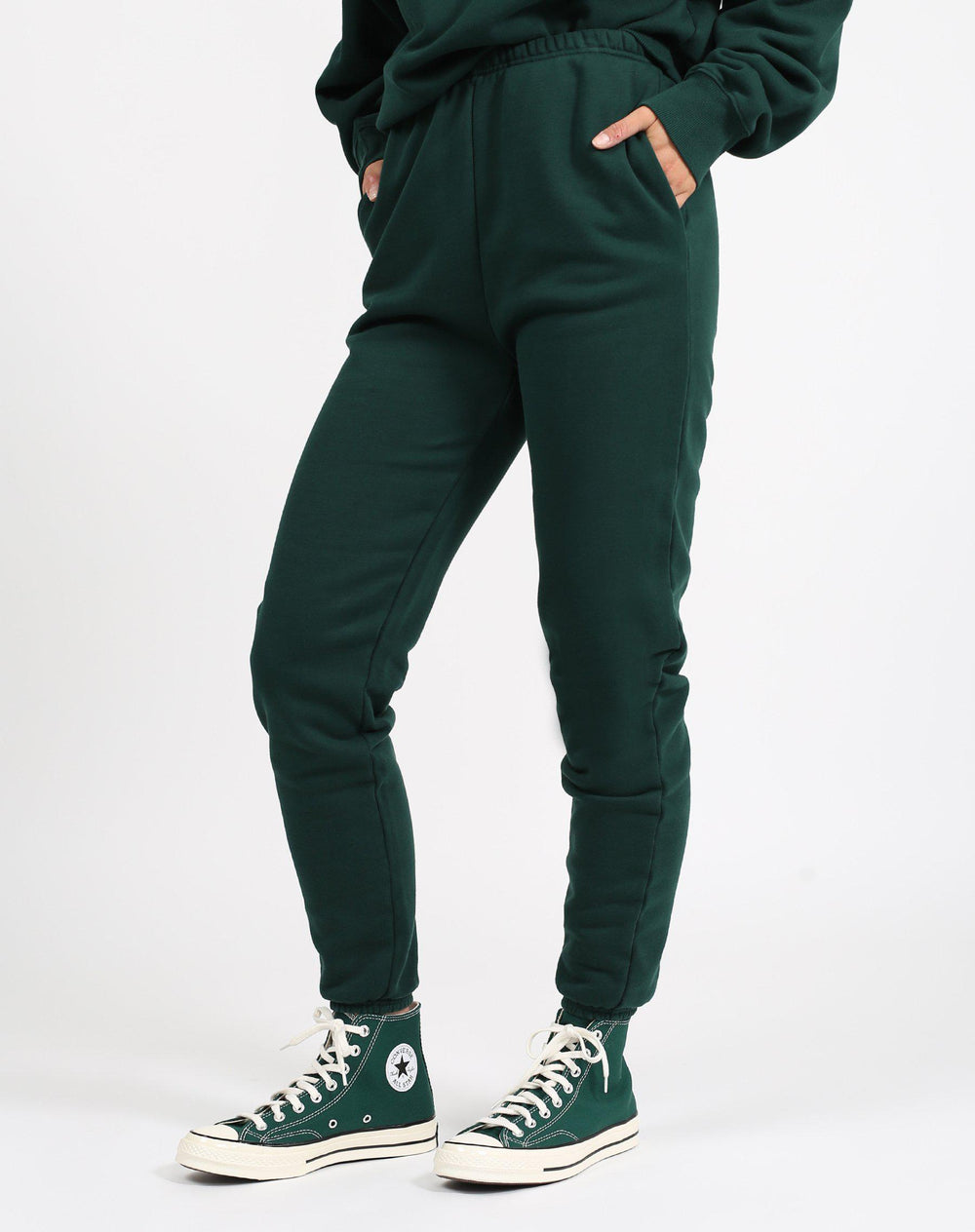 Brunette the Label Best Friend High Rise Jogger in Evergreen-The Trendy Walrus