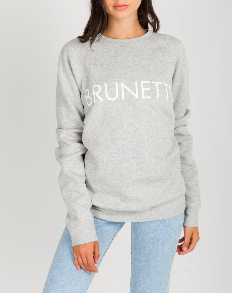 "Brunette The Label ""Brunette"" Classic Crew Neck Sweatshirt in Pebble Gray-The Trendy Walrus"