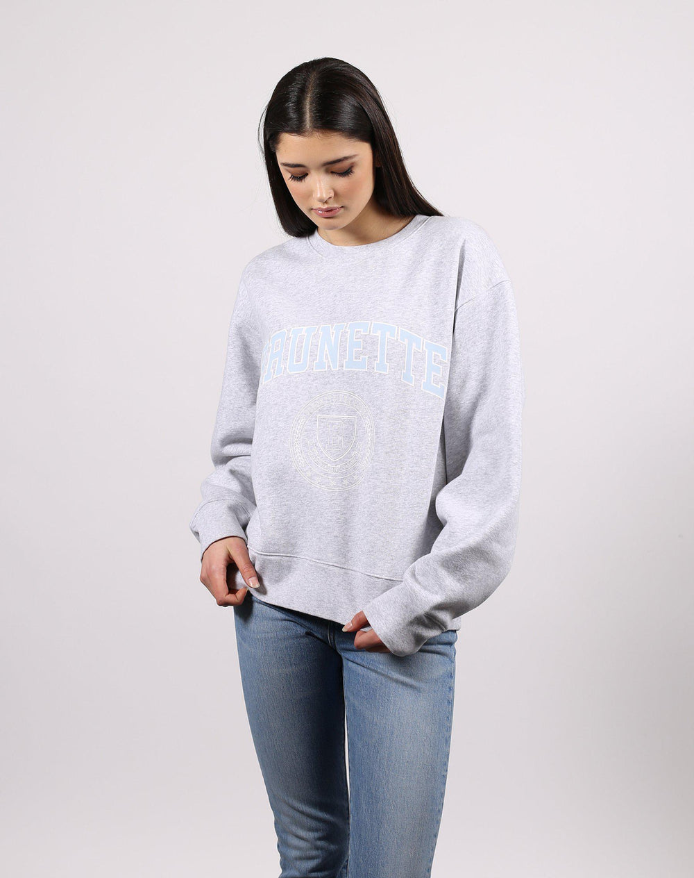 "Brunette The Label ""Brunette Varsity"" Step Sister Crew Neck Sweatshirt-The Trendy Walrus"