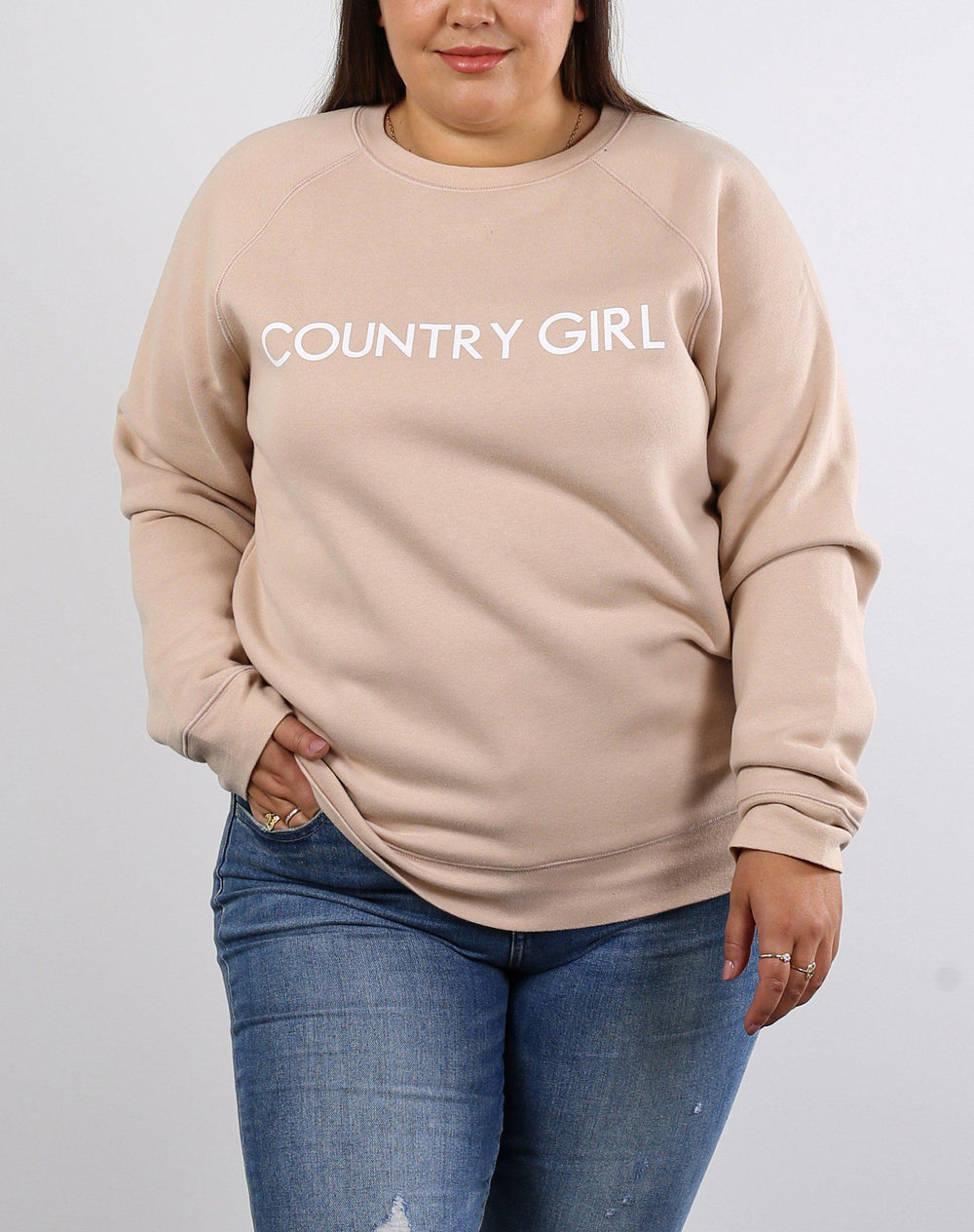 Brunette the Label Country Girl Core Crew in Almond-The Trendy Walrus