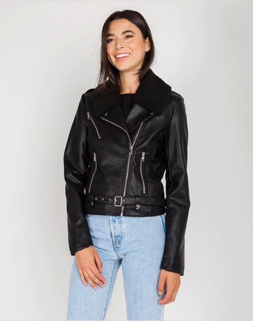 Brunette The Label Florence Vegan Leather Shearling Moto Jacket-The Trendy Walrus