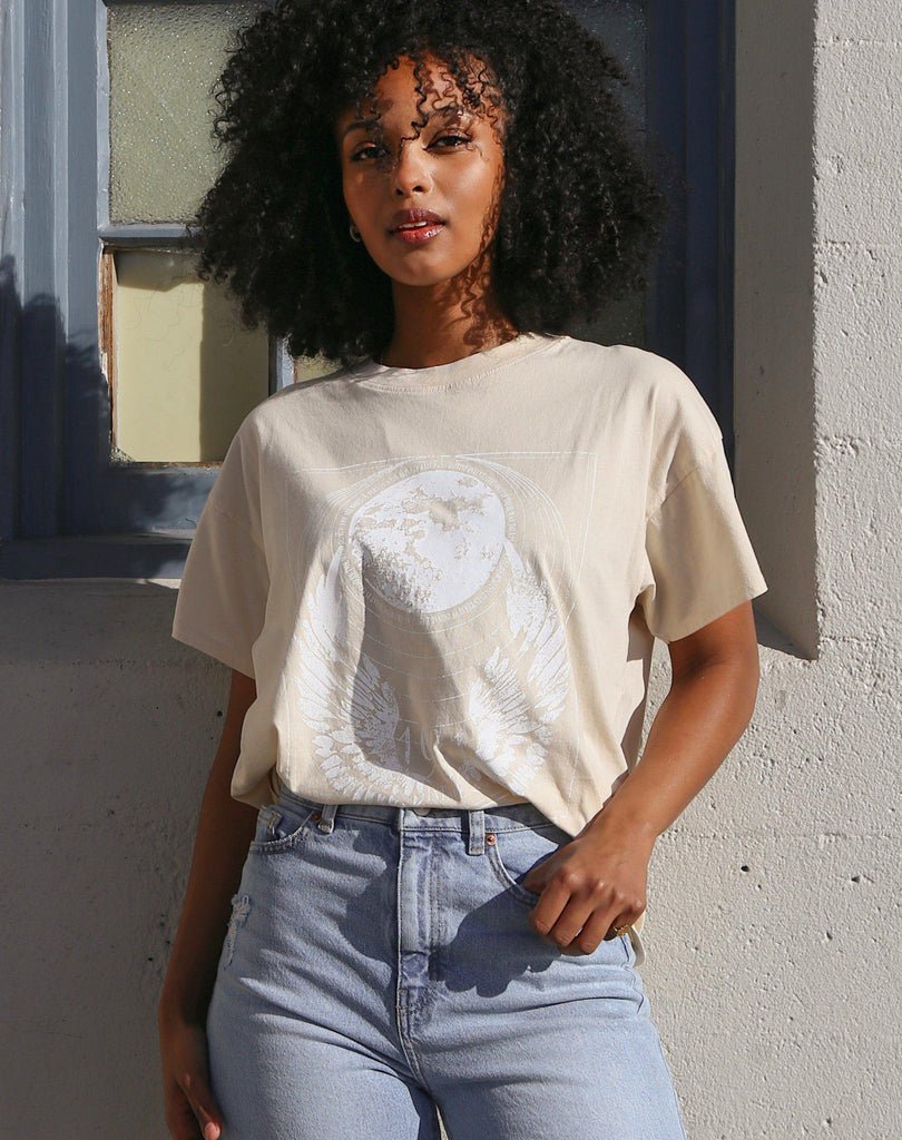 Brunette The Label Mystic Oversized Boxy Tee in French Vanilla-The Trendy Walrus