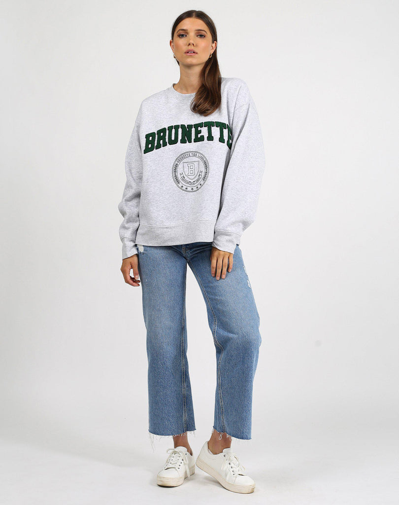 Brunette the Label Shearling College Brunette Step Sister Crew in Grey-The Trendy Walrus