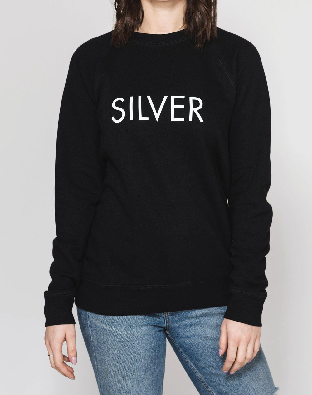 Brunette The Label Silver Classic Crew Neck Sweatshirt-The Trendy Walrus