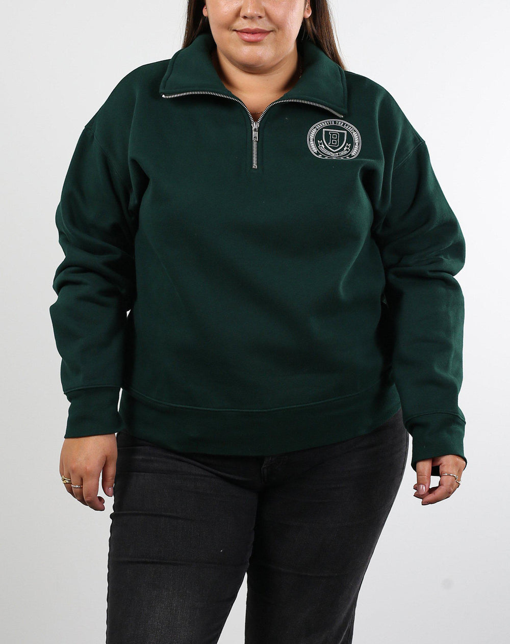 Brunette the Label Step Sister Half Zip in Evergreen-The Trendy Walrus