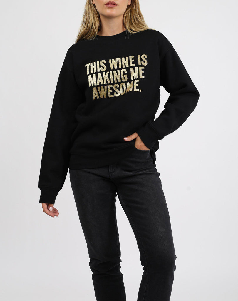 Brunette the Label This Wine Gold Glitter Core Crew in Black-The Trendy Walrus