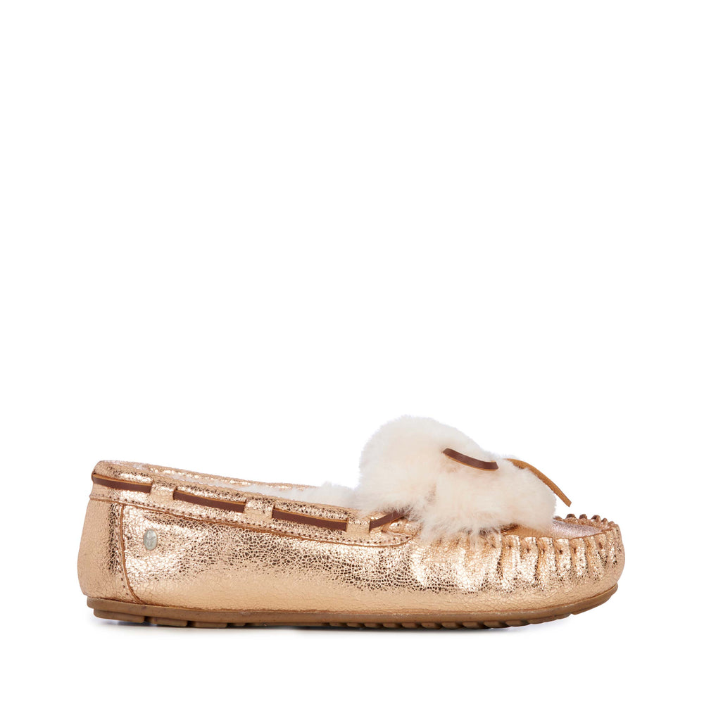 Emu Australia Amity Crackled Cuff Slipper in Rose Gold-The Trendy Walrus