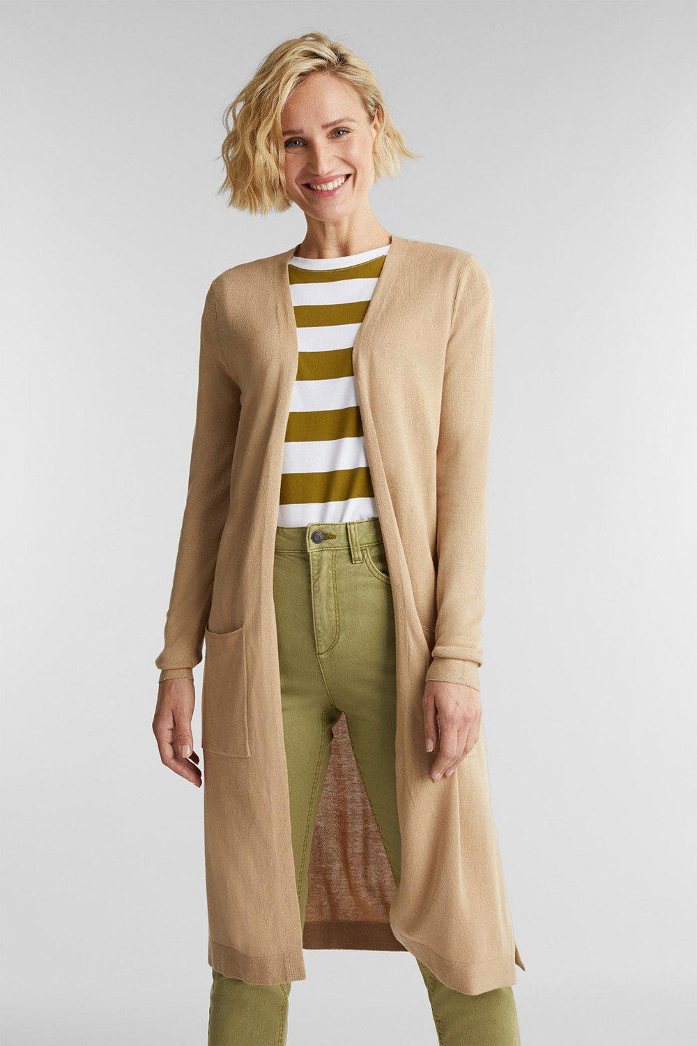 Esprit Light Sweater Cardigan in Beige-The Trendy Walrus