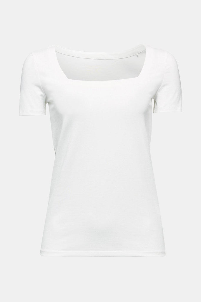 Esprit Square Neck T-Shirt in Cream-The Trendy Walrus