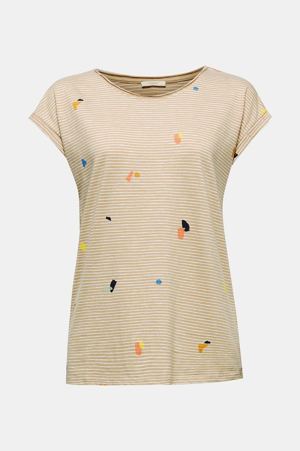 Esprit Stripe Graphic Tee in Beige-The Trendy Walrus