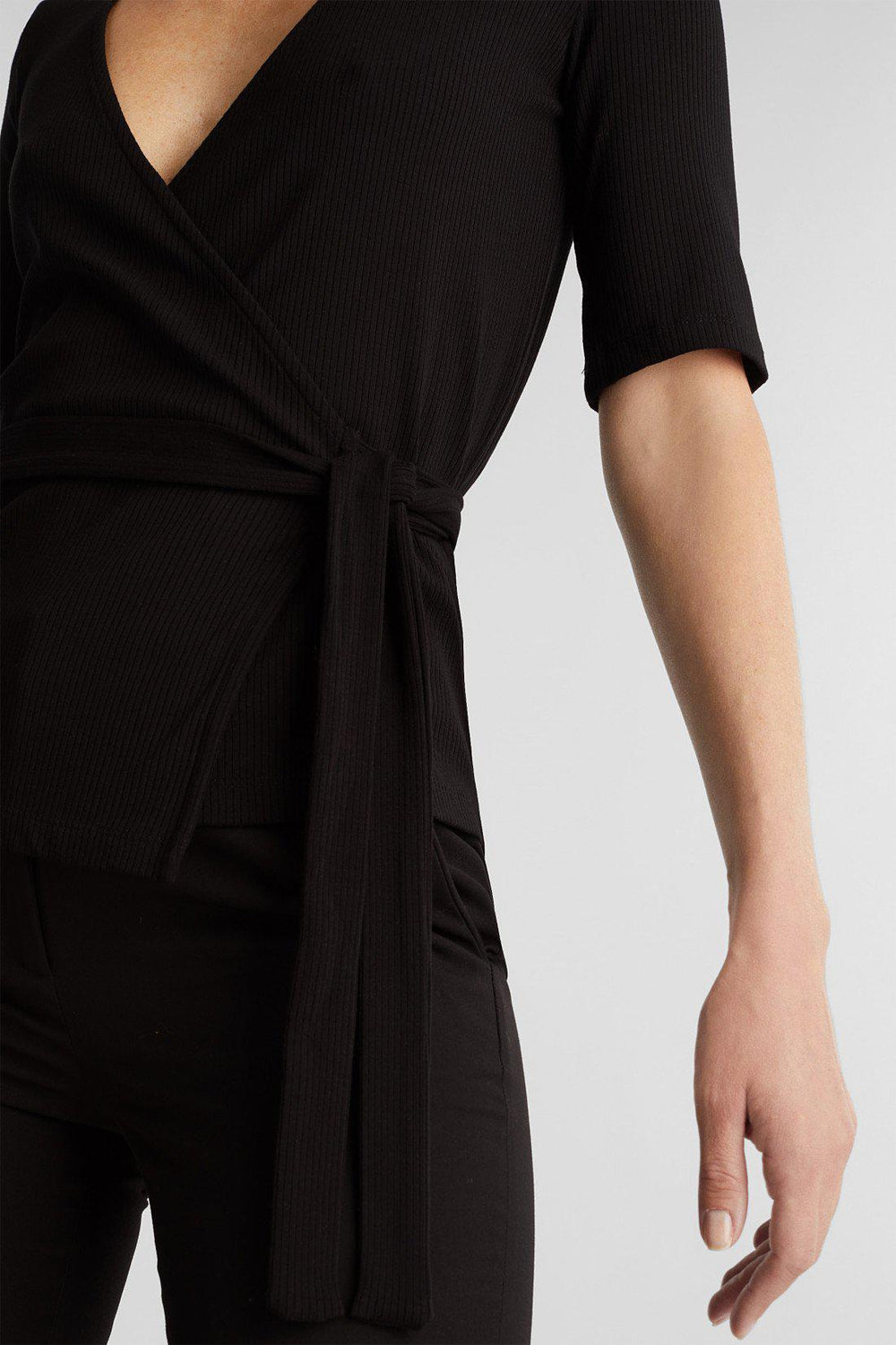 Esprit Wrap T-Shirt in Black-The Trendy Walrus