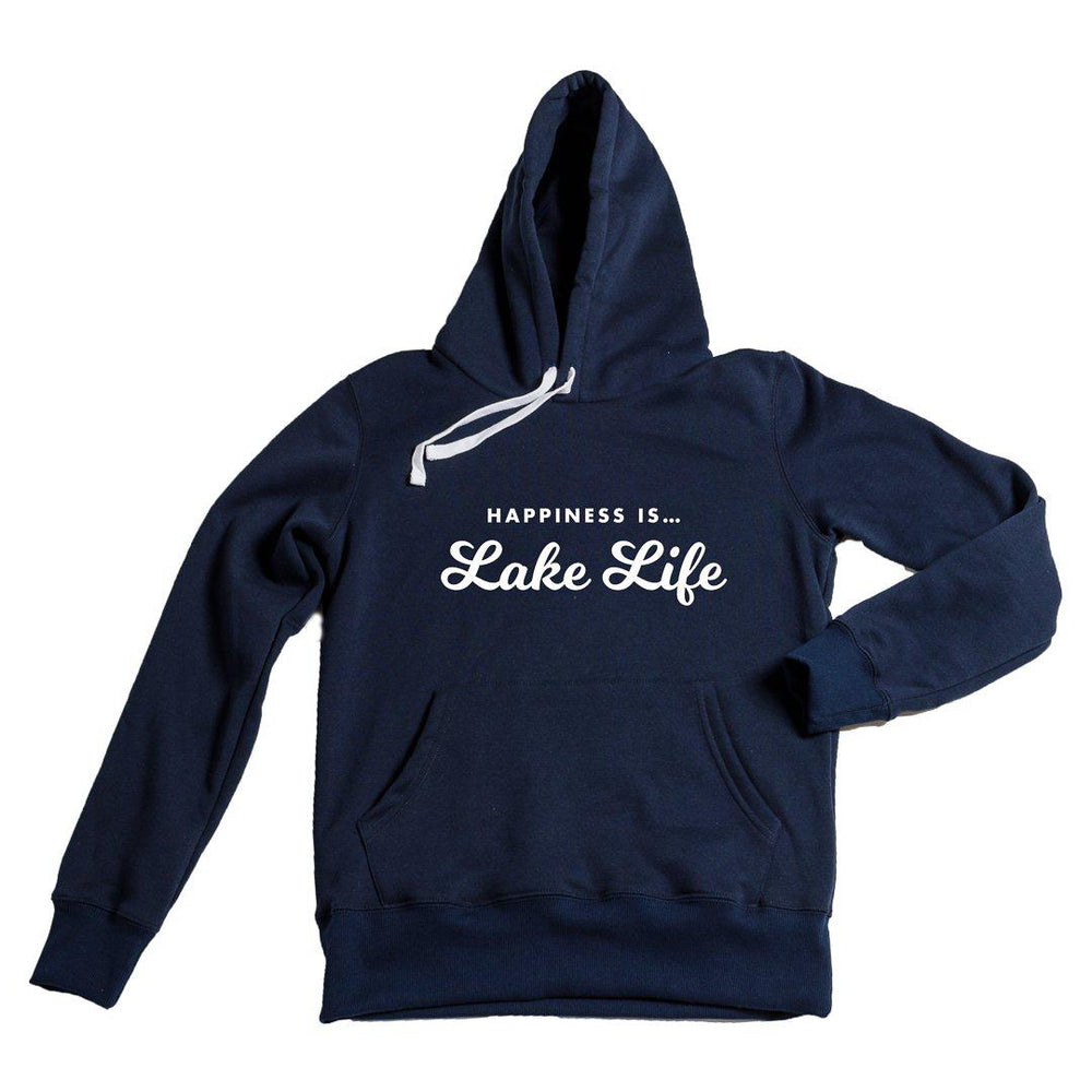 Happiness is Lake Life Hoodie in Navy-The Trendy Walrus