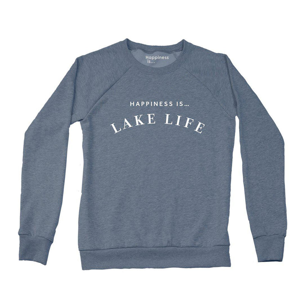 Happiness Is Lake Life Sweatshirt in Heather Navy-The Trendy Walrus
