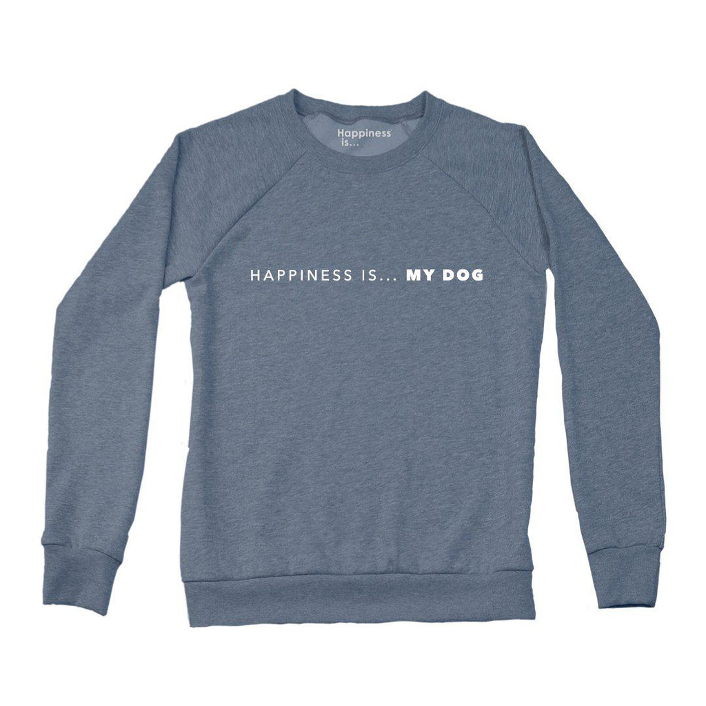 Happiness is Women's My Dog Crew Sweatshirt in Navy-The Trendy Walrus