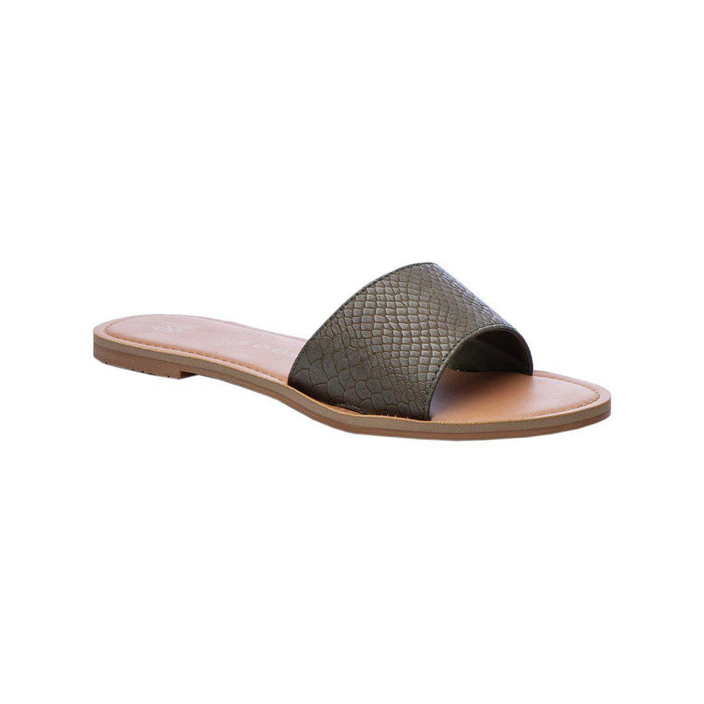 Malvados Billie Snakeskin Slides in Olive-The Trendy Walrus