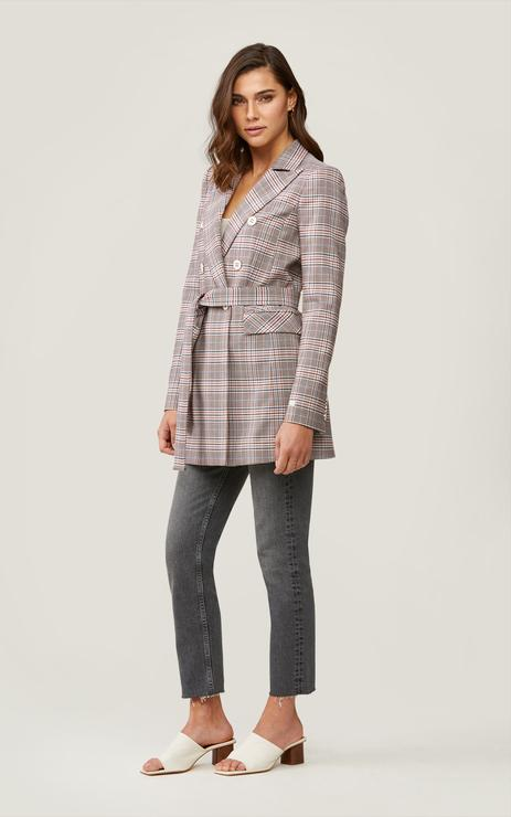 Soia & Kyo Floriana Double Breasted Checkered Coat in Rosewater-The Trendy Walrus