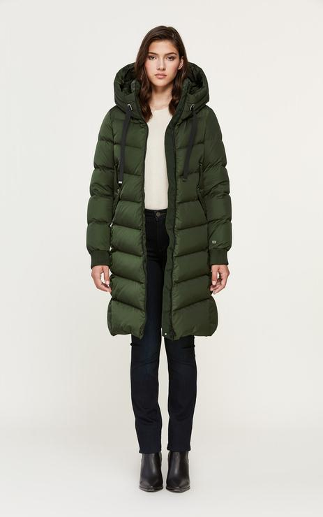 Soia & Kyo Rachela Knee-Length Down Parka in Matcha-The Trendy Walrus