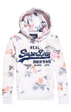 Superdry Photo Floral Vintage Logo Hoodie in Optic White-The Trendy Walrus