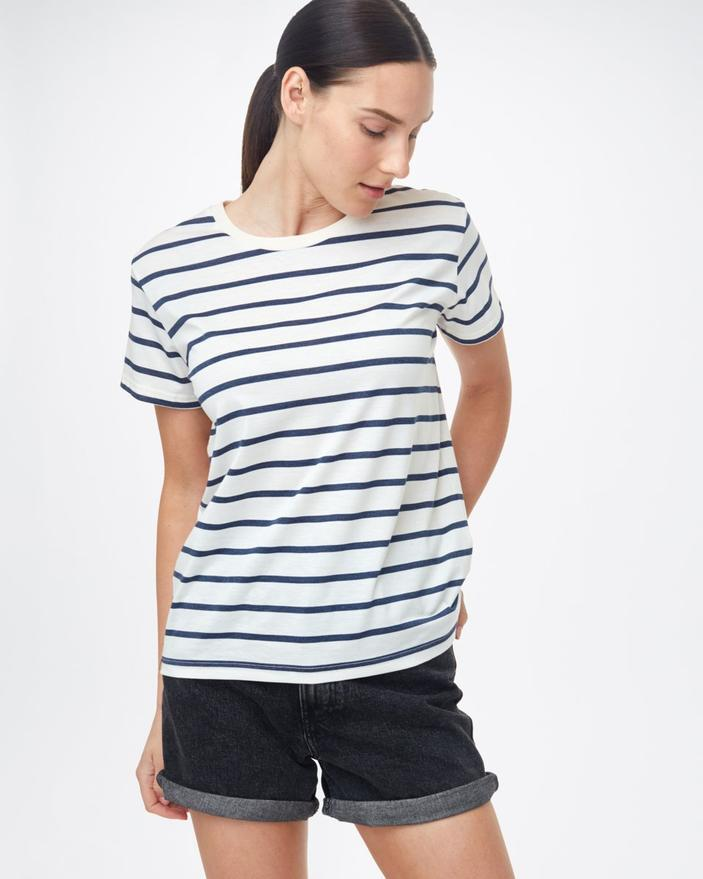 Tentree Breton Stripe T-Shirt in Elm White/Dress Blue-The Trendy Walrus