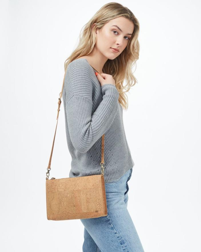 Tentree Cork Crossbody Bag in Natural Cork-The Trendy Walrus