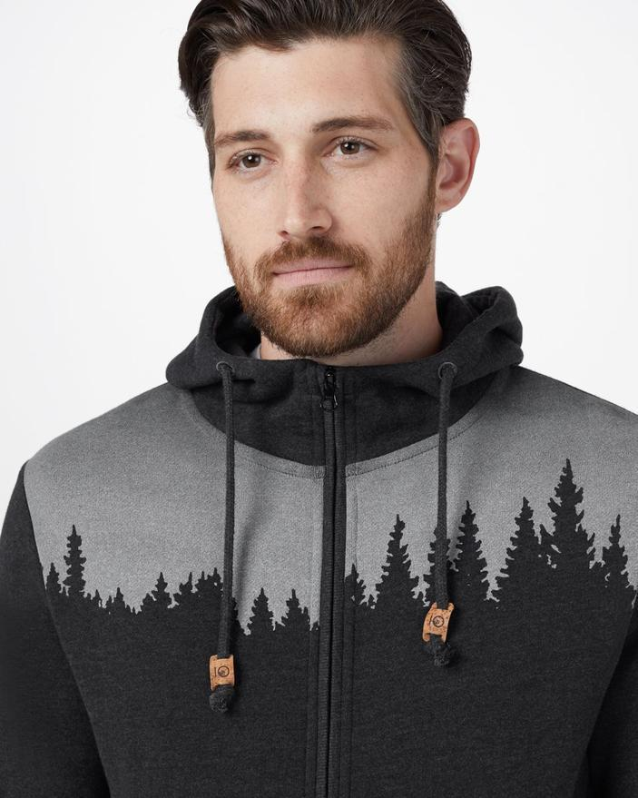 Tentree Juniper Classic Zip Hoodie in Black Heather-The Trendy Walrus