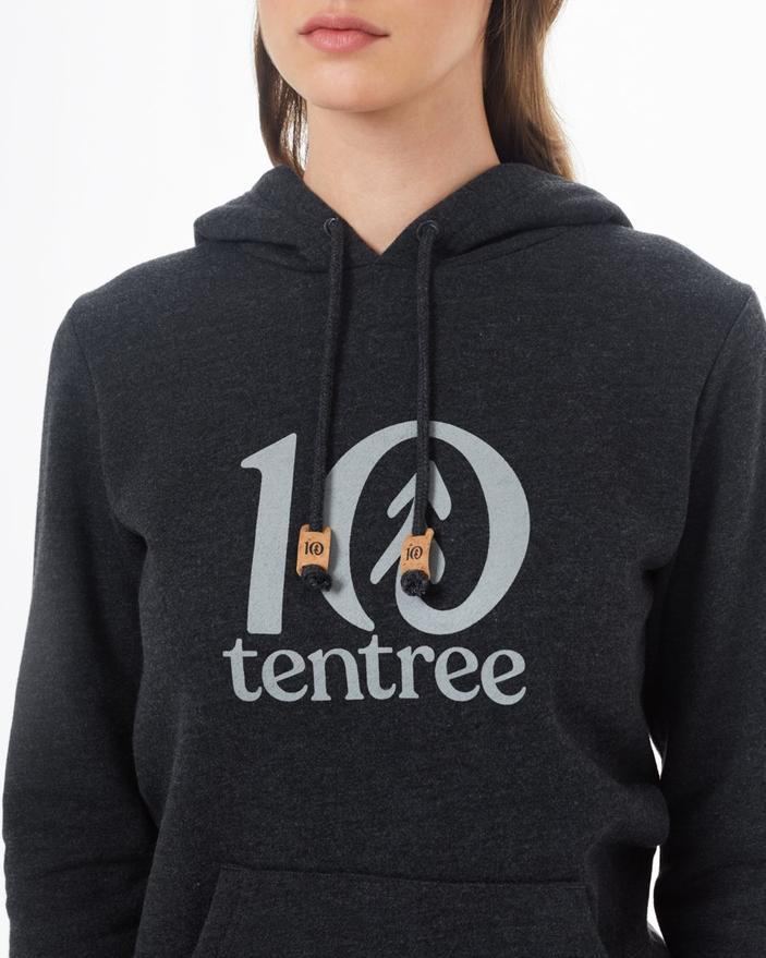 Tentree Logo Classic Hoodie in Black Heather-The Trendy Walrus