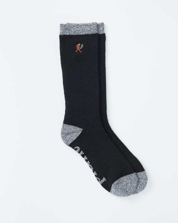 Tentree Selkirk Embroidered Sock in Black Marled-The Trendy Walrus