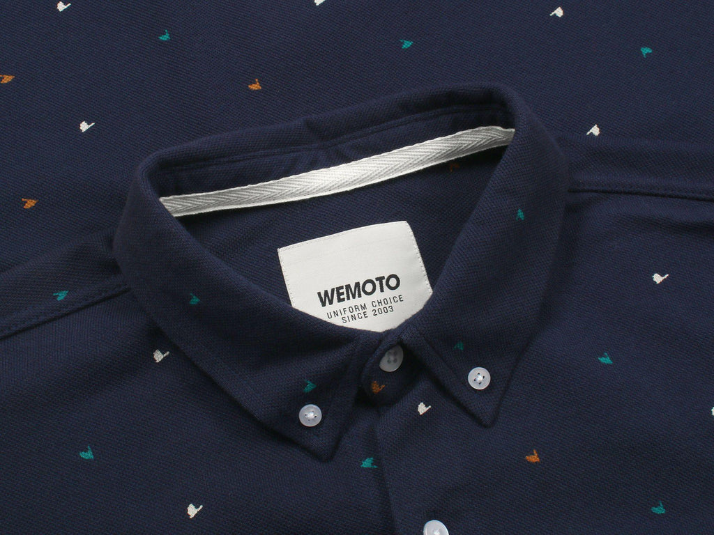 Wemoto Tumba Printed Button-up Shirt in Navy-The Trendy Walrus