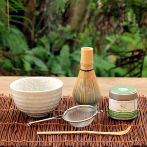 heymatcha ceremonial matcha gift set outside setting