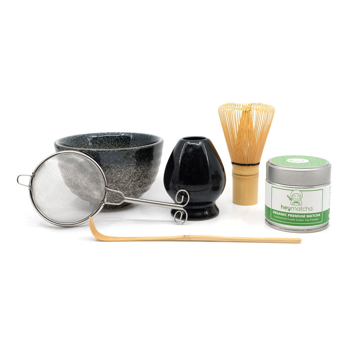 heymatcha ceremonial matcha gift set with organic premium matcha and black accessories