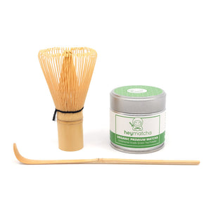 heymatcha starter set with Organic Premium Matcha, Bamboo Whisk and Bamboo Scoop