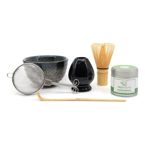 heymatcha ceremonial matcha gift set with premium matcha and black accessories