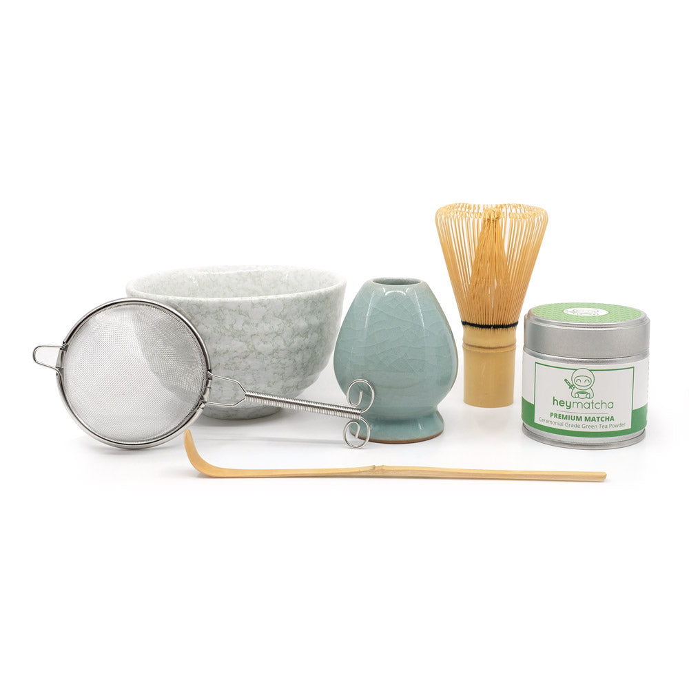 heymatcha ceremonial matcha gift set with premium matcha and jade accessories