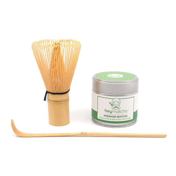 heymatcha starter set with Premium Matcha, Bamboo Whisk and Bamboo Scoop