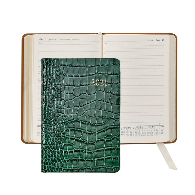 2021 Appointment Diary Emerald Green Crocodile Embossed Leather