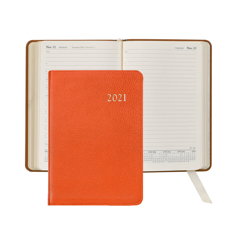 2021 Appointment Diary Orange Goatskin Leather