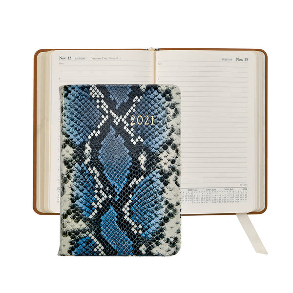 2021 Appointment Diary Navy Blue Python Embossed Leather