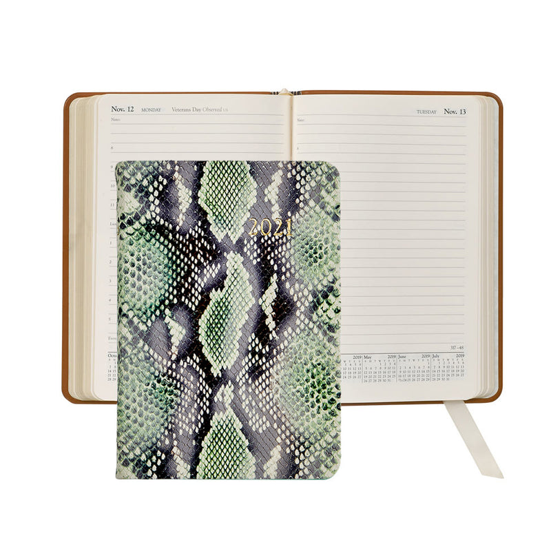 2021 Appointment Diary Green  Python Embossed Leather