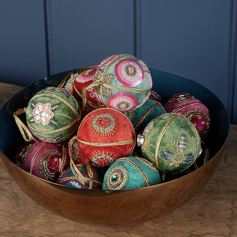 Velvet Christmas baubles