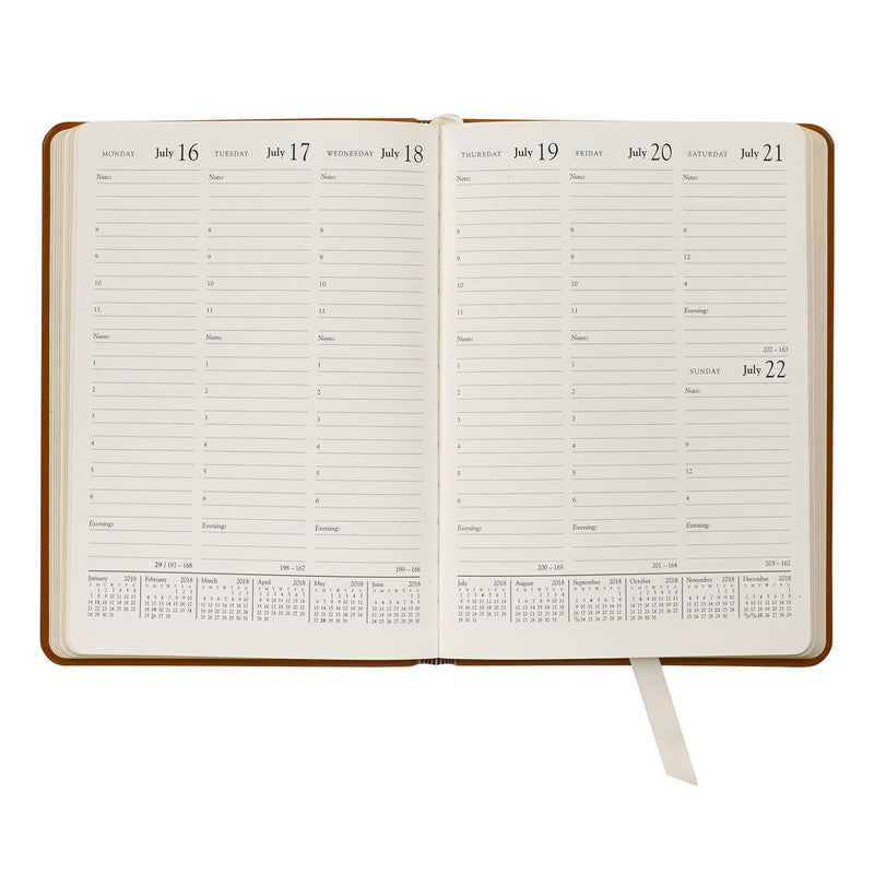 2021 Desk Diary Navy Blue Traditional Leather