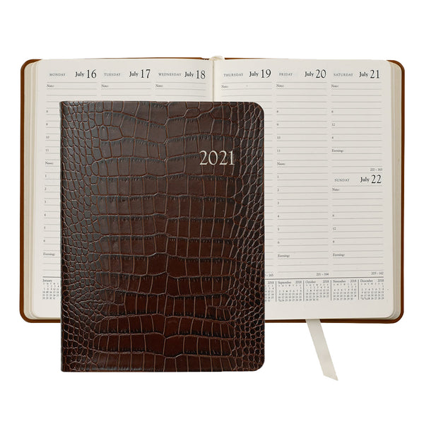 2021 Desk Diary Crocodile Embossed Brown Leather