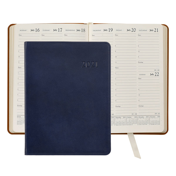 2021 Desk Diary Navy Blue Leather