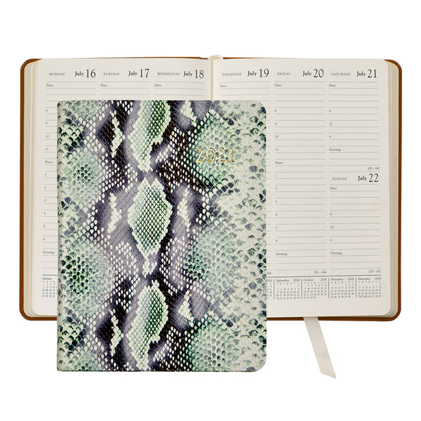 2021 Desk Diary Green embossed Python Leather