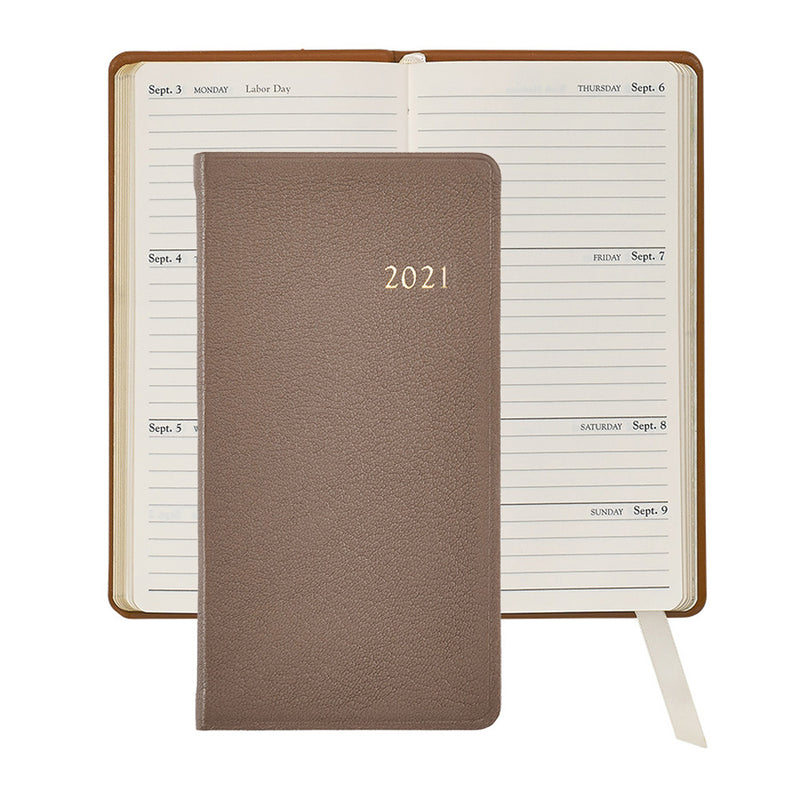 2021 Pocket Diary Taupe Goatskin Leather