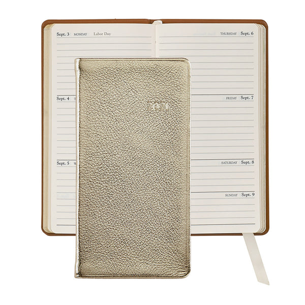 2021 Pocket Diary White Gold Metallic Leather